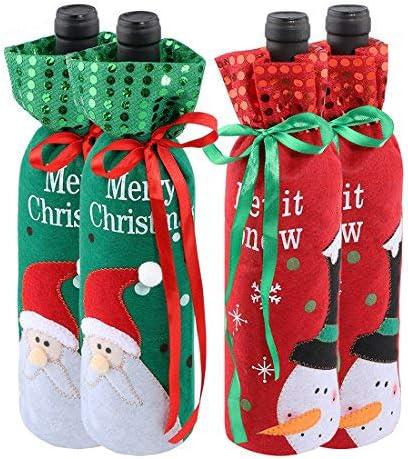 Christmas Decoration Santa Wine Bottle Bag Cover Dinner Party Table Xmas Decor