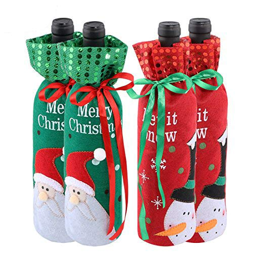 Christmas Bottle Cover Bag Santa Claus Snowman Wine Bottle Decoration Bag Dinner Party Table Decor Xmas Gift Pack of 4