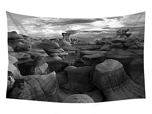 PUPBEAMO PRINTS 60x40 Inches Black and White Wall Tapestry - Bisti Badlands New Mexico - Wall Tapestry Art For Home Decor Wall Hanging Tapestry Bedroom Living Room Dorm ()