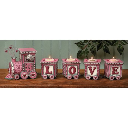 Love Train Valentine's Day Figurine Decor Home Accent Table Top Party Romantic V-day Gift Decoration Bear Driver Red Pink Candle Holder Glass Cup Decorative Centerpiece