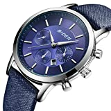 Watch,Mens Watches,Sport Casual Fashion Business Wrist Watch,Leather Waterproof Multifunctional Chronograph (Blue)
