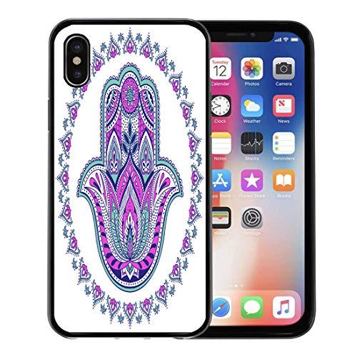 Semtomn Phone Case for Apple iPhone Xs case,Yoga Indian Hamsa Hand Symbol Multicolor Tribal Ornamental Talisman Ethnic Boho Graphic for iPhone X Case,Rubber Border Protective Case,Black