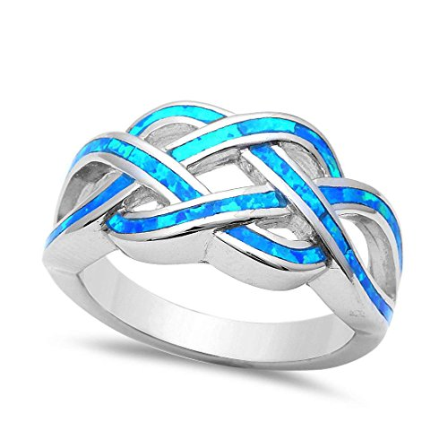 Opal Knot (Celtic Trendy CrissCross Twisted Knot Infinity Ring Over Lab Created Blue Opal 925 Sterling Silver)