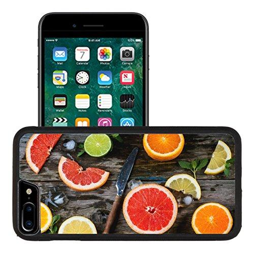 - Liili Apple iPhone 7 plus iPhone 8 plus Aluminum Backplate Bumper Snap iphone7plus/8plus Case Set of sliced citrus fruits lemon lime orange grapefruit with mint ice and vintage over wooden background