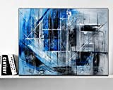 Hand Painted Original abstract modern art Contemporary Painting Blue Black and gray color wall art decor Textured large artwork