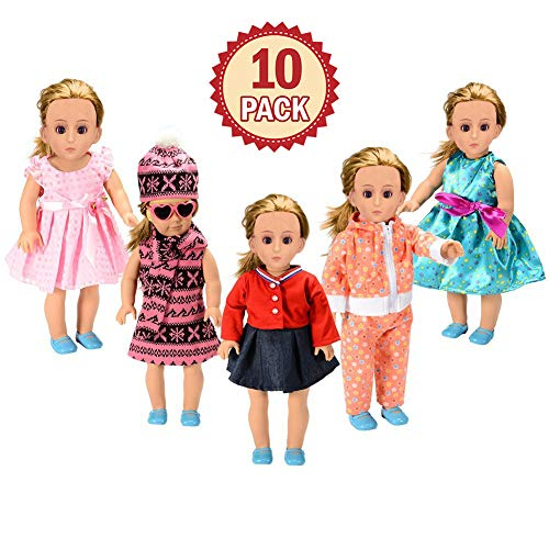 FairyStar American Girl Doll Clothes Wardrobe Makeover (10pcs), 5 Outfits American Girl Doll Accessories Set Clothes, Fits 18