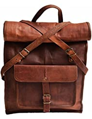 22 Genuine Leather Vintage 15.6 17 Laptop Backpack School Book Bag Briefcase