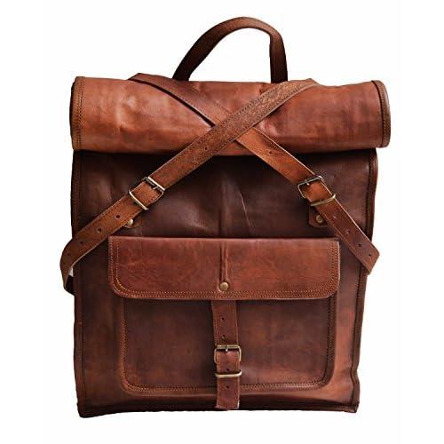 """Hot 22"""" Genuine Leather Vintage 15.6 17"""" Laptop Backpack School Book Bag Briefcase hot sale"""