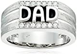 "Men's Platinum Plated Sterling Silver and Black Enamel ""DAD"" Ring Made with Swarovski Zirconia Ring"