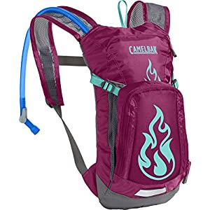 CamelBak Kids Mini M.U.L.E. Crux Reservoir Hydration Pack, Baton Rouge/ Flames, 1.5 L/50 oz