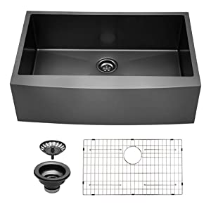 Sarlai 30 inch Black Farmhouse Apron Single Bowl 16 gauge Stainless Steel Kitchen Sink