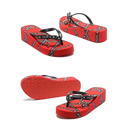 Slippers Female Summer Fashion Version Of The Sandals Thick-soled Leisure (Color : PINK, Size : 38-256mm) Red