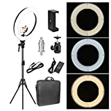 ZoMei 18 inch LED Makeup Ring Light 50W 3200-5500K White Color and Orange Color Changing Lighting Kit with Tripod Stand Ball Head and Phone Adapter