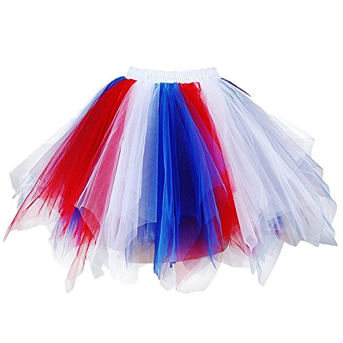 DYS Women's 1950s Knee Length Petticoat Slips Tulle Ballet Bubble Tutu Skirt Blue/White/Red (Red White And Blue Outfits)