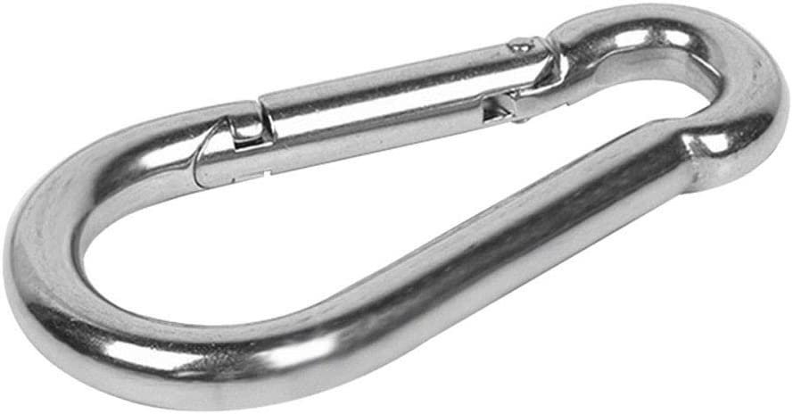 Zinc-Galvanized 304 Stainless Steel Carabiner Spring Snap Link Hook Durable Strong and Light Large Carabiners Clip Set for Outdoor Camping Screw Gate Lifemaison Spring Snap Hooks