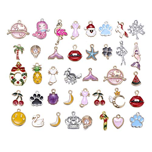 (50pcs Mix Style Enamel Alloy Cute Animals Mermaid Tail Christmas Girls Charm Pendant DIY Jewelry Making)