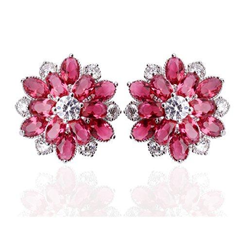 Bridal Red Flower Stud Earrings Set in Cluster Cubic Zirconia 0.63
