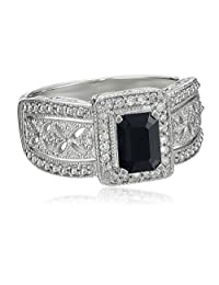 Sterling Silver Sapphire and Diamond Art Deco Ring (0.13 cttw, I-J Color, I2-I3 Clarity), Size 7