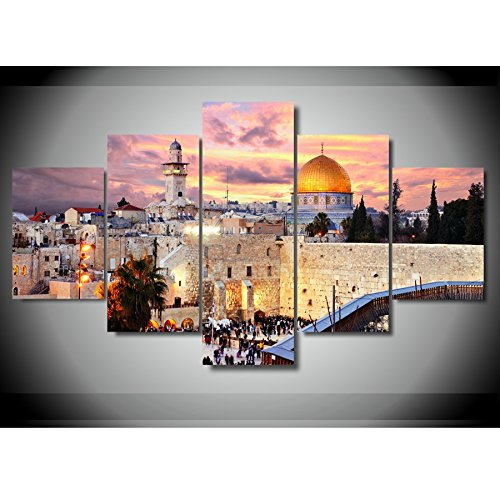 [LARGE] Premium Quality Canvas Printed Wall Art Poster 5 Pieces / 5 Pannel Wall Decor Jerusalem Painting, Home Decor Pictures - With Wooden Frame by PEACOCK JEWELS