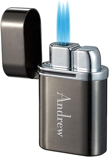 Monogarmmed Personalized Triple Flame Torch Cigar Lighter for Men
