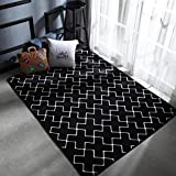 YJBear Modern European Style Cross Print Floor Mat Coral Fleece Home Decor Carpet Indoor Outdoor Area Rug Rectangle Doormat Kitchen Floor Runner Black 37.4'' X 37.4''