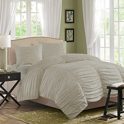 (BudgetLinen (1 Gathered Duvet Cover & 2 Pillowcases,Ivory , Cal King) 100% Egyptian Cotton Luxurious 400 Thread Count)