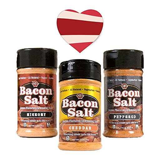 Bacon Salt Sampler Gift Set (3 Pack + Sticker) - Hickory, Cheddar & Peppered Bacon Flavored Salts Variety + Bacon Heart Sticker