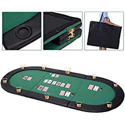 "Giantex 79""x36"" Portable Tri-Fold Poker Table Top Oval Padded Folding with Carrying Case"
