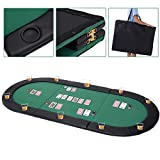 Giantex 10 Player 79''x36'' Portable Tri-Fold Poker Table Top Oval Padded Folding with Carrying Case