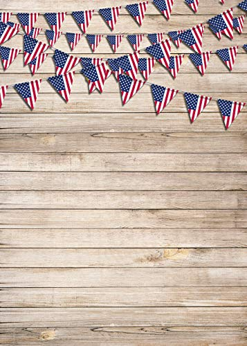Duaacvt 5x7ft Wooden Floor Patriotic American Flag 4th of July Independence Day Veterans Day Banner Photo Studio Booth Photography backdrops 163