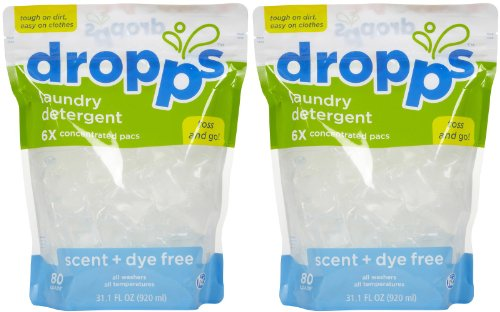 Laundry Detergent Pacs, Scent + Dye Free 80 Ct by Dropps (Pack of 2) by dropps