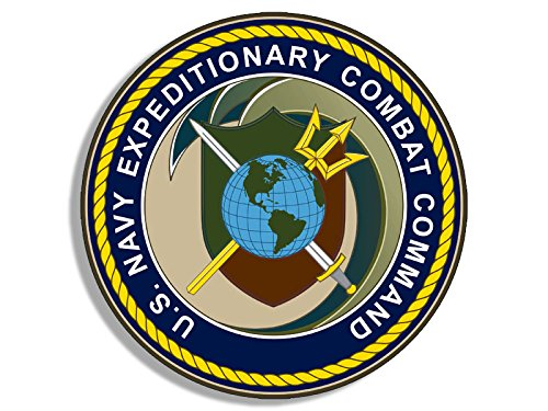 American Vinyl Round Navy Expeditionary Combat Command Seal Sticker (Decal Logo Insignia necc)