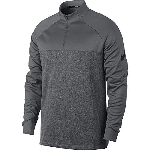 NIKE Men's Therma Half Zip Golf Shirt, Dark Grey/Dark Grey/Heather/Black, Small