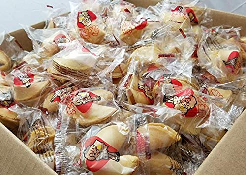 WIN FAR Chinese/Japanese Fortune Cookies Fresh Single Wrap Vanilla flavor (50pcs) Chocolate Dipped Fortune Cookies