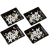 Cinf Japanese Cherry Blossom 4 inch Salad Dish Plates Set of 4 Black Ceramic Sauce Dish/Seasoning Dish/Sushi Dishes/Appetizer Plates/Serving Dish for Kitchen Home,Rectangular …