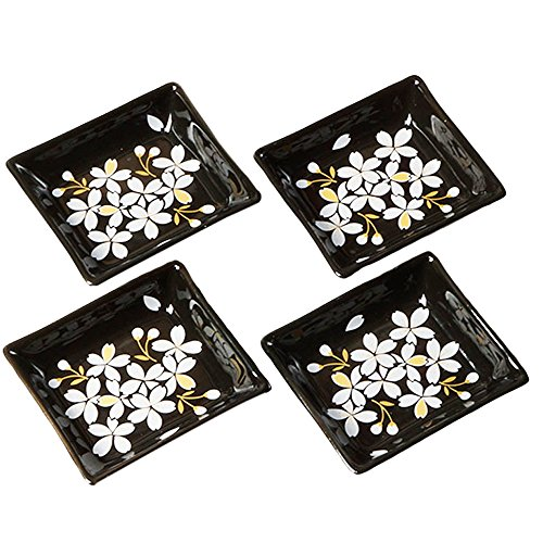 Cinf Japanese Cherry Blossom 4 inch Salad Dish Plates Set of 4 Black Ceramic Sauce Dish/Seasoning Dish/Sushi Dishes/Appetizer Plates/Serving Dish for Kitchen Home,Rectangular ...