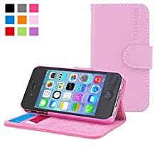 iPhone 4 Case, Snugg Candy Pink Leather Flip Case [Card Slots] Executive Apple iPhone 4 Wallet Case Cover and Stand [Lifetime Guarantee] - Legacy Series