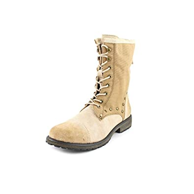 Roxy Womens Concord Closed Toe MidCalf Combat Boots Beige Size 55