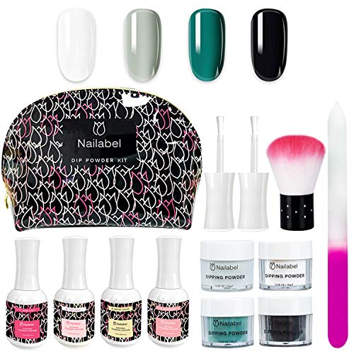 Nailabel Dipping Powder Nail Set, with 4-Color Acrylic Dip Powders, Liquid Set, Nail File and Brush