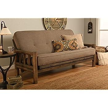 Up North Futon Lodge Frame and Mattress Full Size Sofa Bed (Vanilla Walnut)