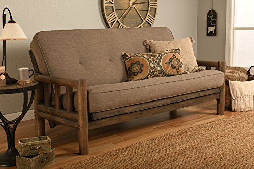 Jerry Sales Up North Futon Lodge Frame and Mattress Full Size Sofa Bed (Vanilla Walnut)