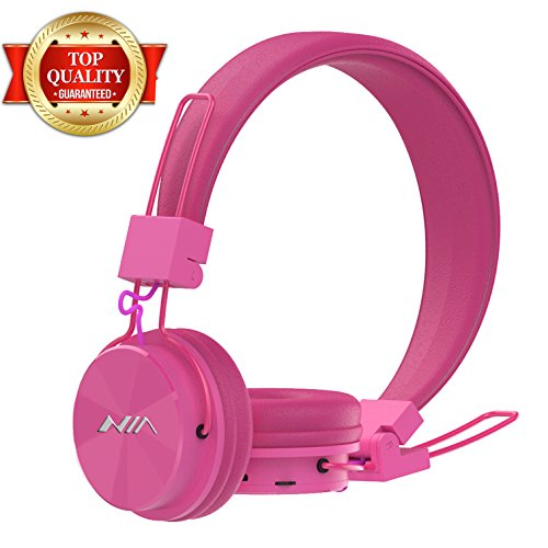 Wireless Bluetooth Headphones Over Ear,Portable Foldable Noise Cancelling Hi-Fidelity Audio Stereo Earbuds Deep Rich Bass Long Battery Life Headset with Mic Support TF Card, FM Radio - Pink