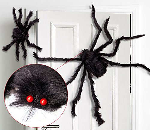 (jollylife 2PCS Fake Giant Spider Halloween Decorations Black - Outdoor Yard Haunted House Party Decor)