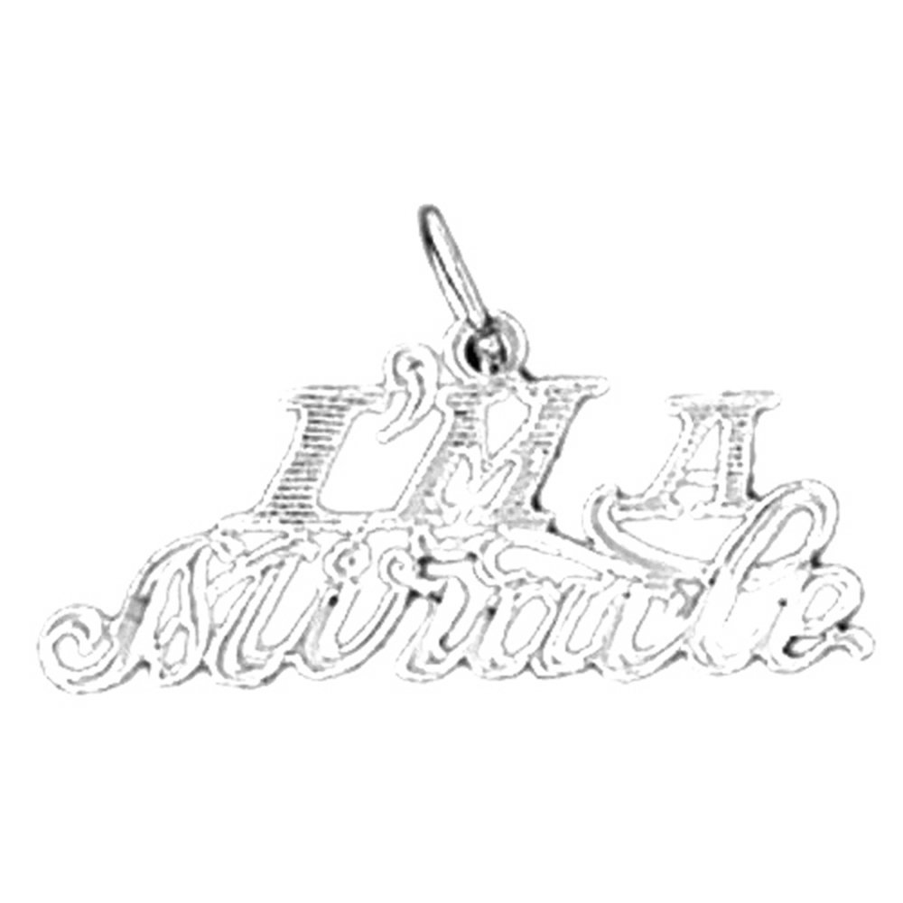 Jewels Obsession Saying Necklace Rhodium-plated 925 Silver Im A Miracle Saying Pendant with 18 Necklace