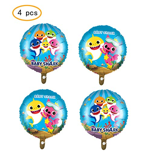 4 pcs Baby Shark Balloons Party Supplies,18 Inch Large Balloons, Balloons For Baby Shark Theme Birthday Party -