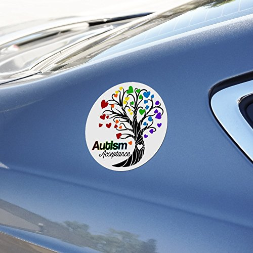 97f9ea16f1f GRAPHICS & MORE Autism Acceptance Tree of Life with Hearts Automotive Car  Refrigerator Locker Vinyl Circle Magnet