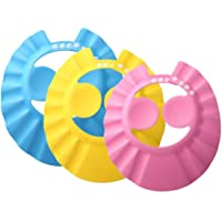 3PCS Baby Bath Shower Shampoo Cap Adjustable Bathing Protection Cap Soft Waterproof Ear Protection Ear Eye Protection…