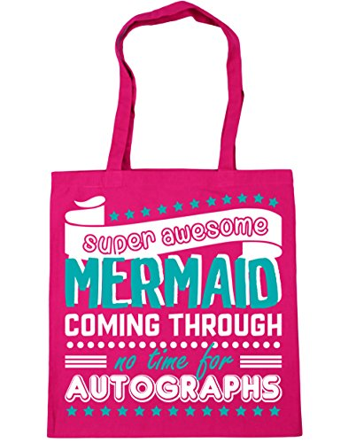 Coming Autographs Time Awesome No Tote Super Mermaid For Beach Shopping Bag x38cm Gym Through Fuchsia 10 litres HippoWarehouse 42cm Y8twf