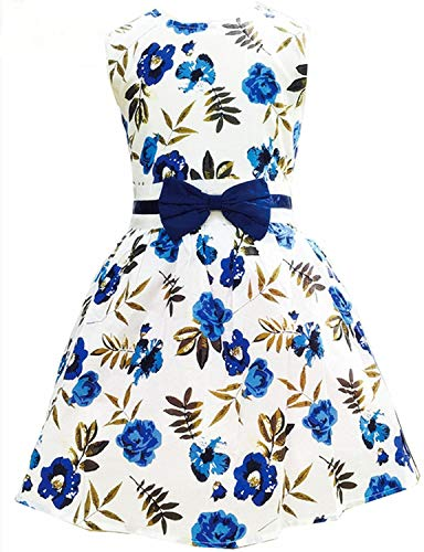 ittle Girls Sleeveless Easter Casual Dress Cotton Swing Party Flower Dresses Size,Blue,8-9 -