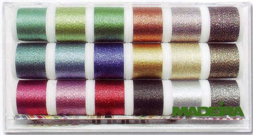 Madeira 8020 'supertwist' Embroidery Box With 18 Metallic Bobbins 200 M Each by Madeira